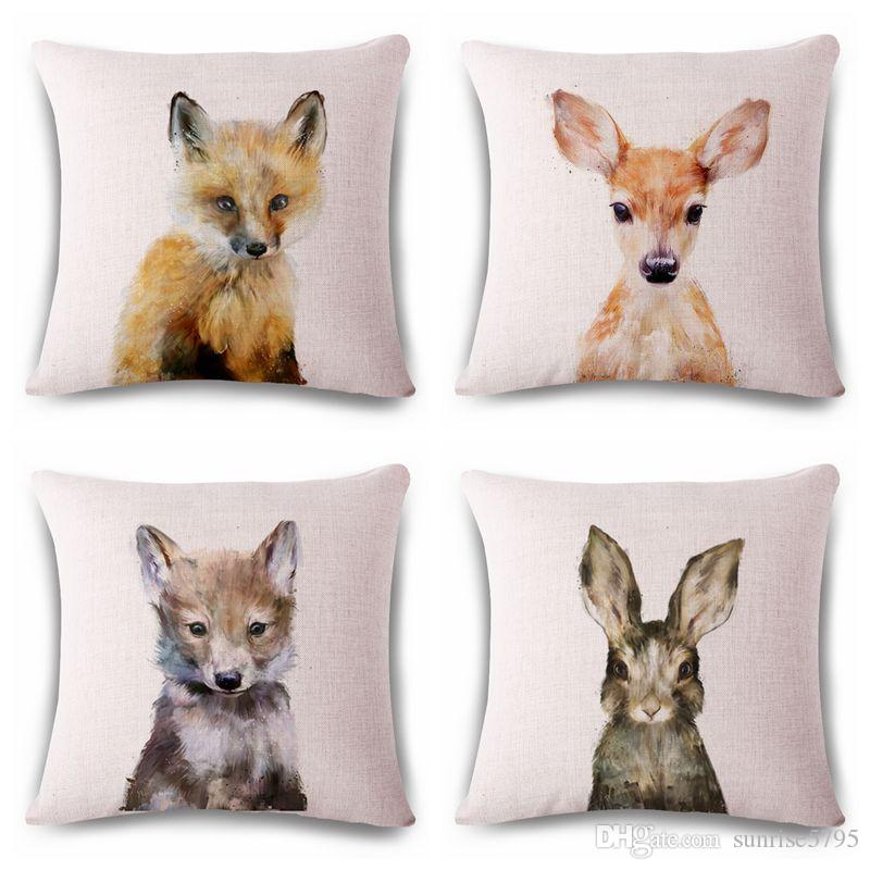 Compre Cute Conejo Cojín Cubierta Animal Print Almofada Fox Tiro ...
