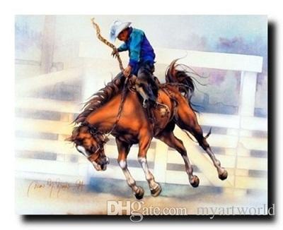 Framed Western Rodeo Cowboy Riding Home Decor Art 61e3e54075c5