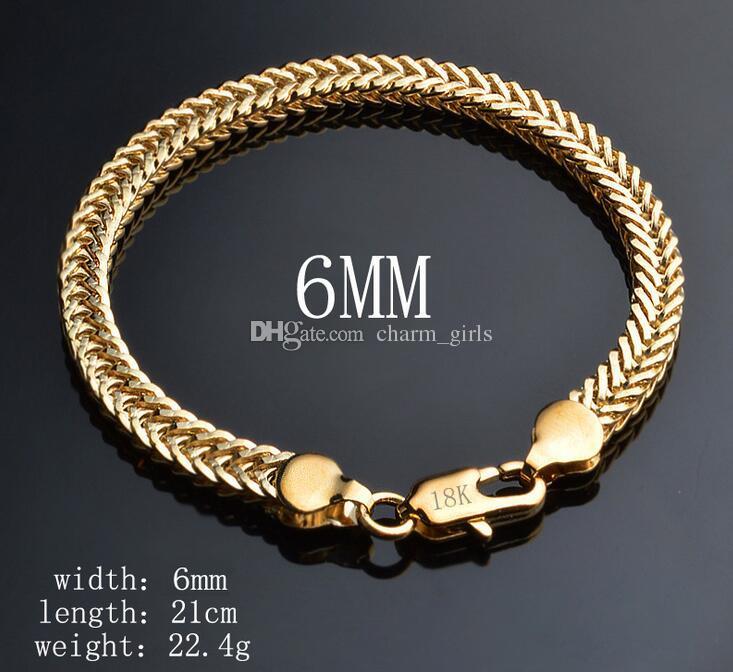 2017 mode homme classique femme plaqué or 18 carats bracelet plat chaîne de serpent boîte chaîne Figaro bracelet 10 choix de style