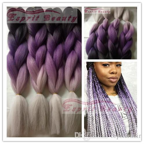 New Black Purple Grey 3t Ombre Jumbo Box Braids 5packs 24