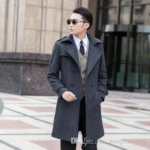 21f3413a323 Grey Korean Long Sleeve Medium-long Wool Coat Men Jackets And Coats ...