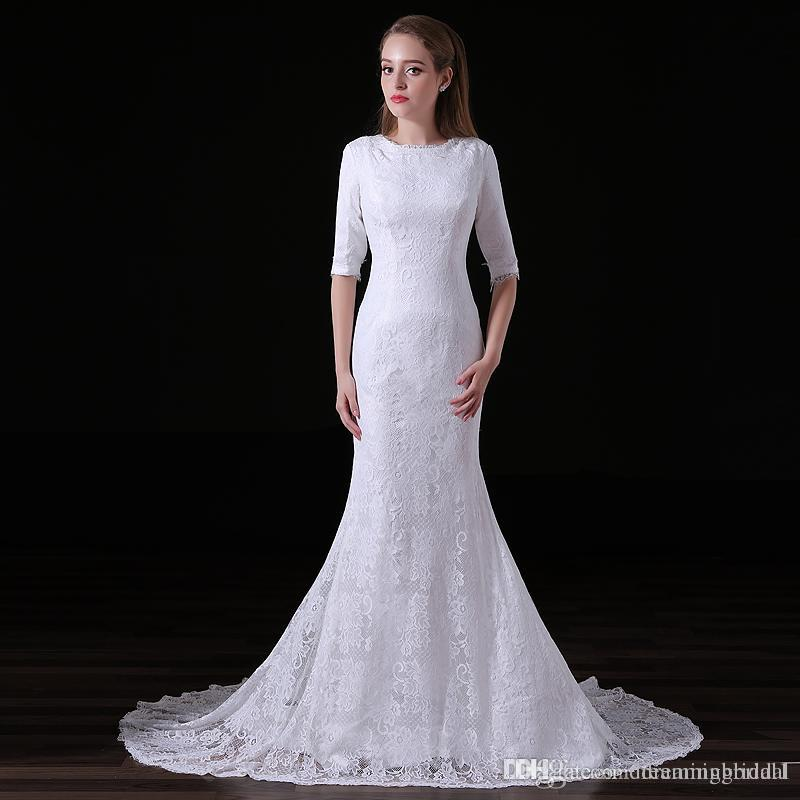 Sexy White Lace Mermaid Wedding Dresses 1/2 Sleeve Scoop Neck Sweep Strain Simple  Bridal Dresses Wedding Gown Custom Made Plus Size 15 A010 Shop Wedding ...