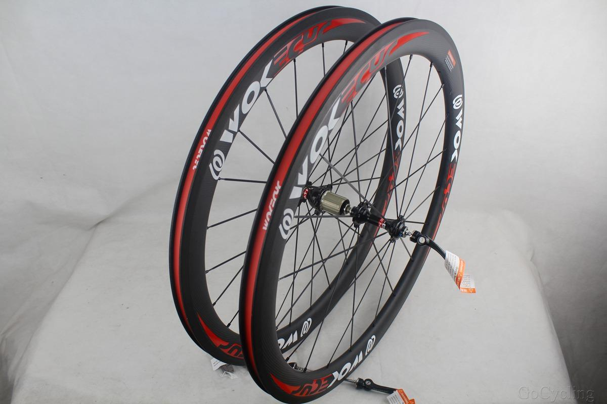Carbon fiber bicycle wheels 50mm clincher tubular road cycling bike racing 700C wheelset Basalt brake surfce width 25mm red white decals