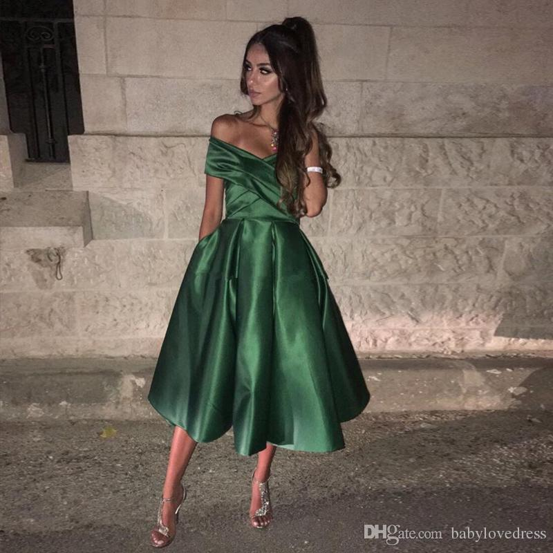 Tea length satin a line homecoming dresses with pockets off shoulder zipper back graduation party prom gowns
