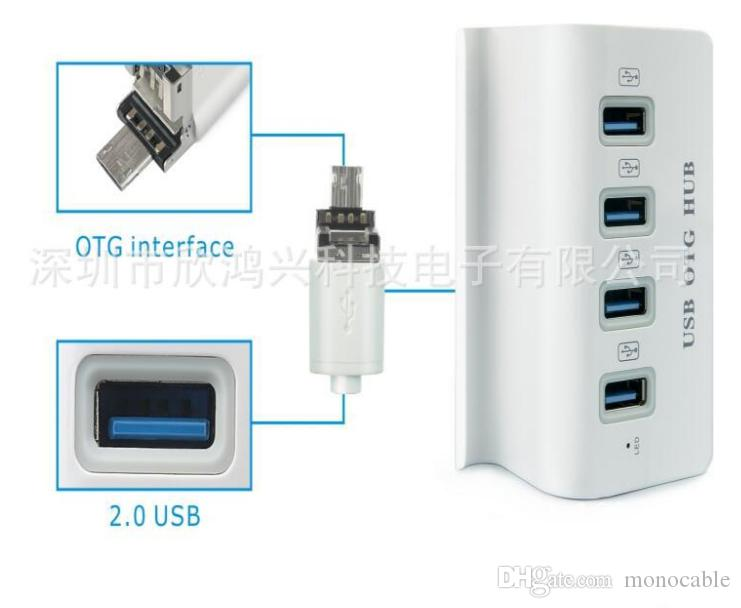 White Multi-function 2 in 1 Micro USB 2.0 OTG HUB 4 Ports Adapter for Tablet Dock Mobile Phone / Stander /Hold High Quality