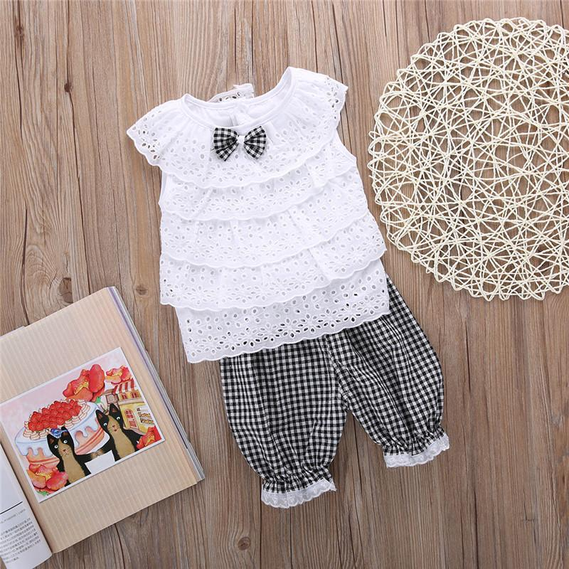040d248f3e69 2PCS/set Toddler Kids Baby Girls Outfit Clothes Cute Lace Plaid Sets  Sleeveless shirt Tops+ short Pants Trousers Hot Sale
