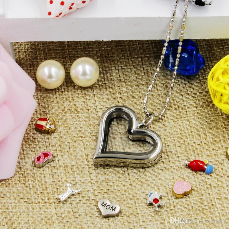 Vendita calda novità amore cuore magnetico cristallo fai da te galleggiante memoria vivere medaglione pendente regalo ragazze donne figlia con catene libere
