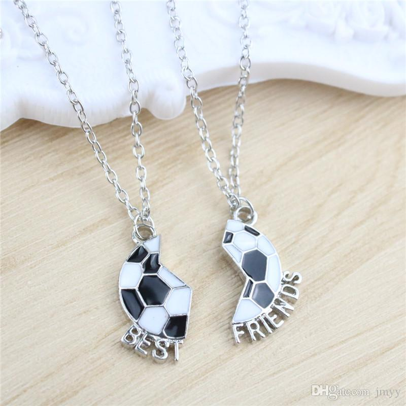 Bijoux de mode / Set colliers meilleurs amis balle pendentif colliers en argent plaqué amitié long alliage colliers