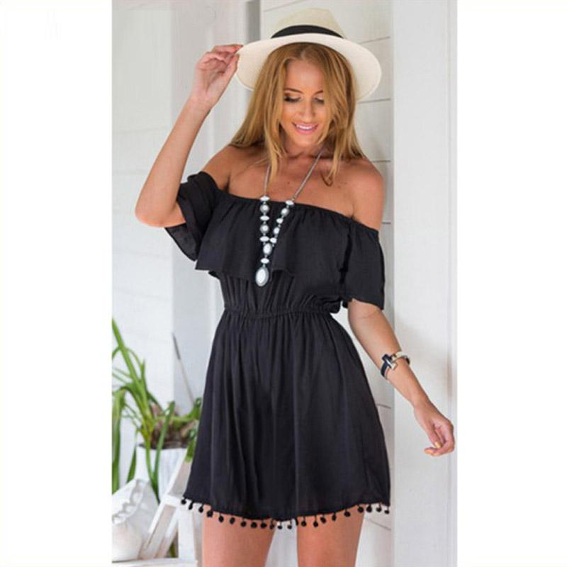 Fashion women Elegant Vintage Romper sweet lace white/black Dress stylish sexy slash neck casual slim beach Summer Sundress