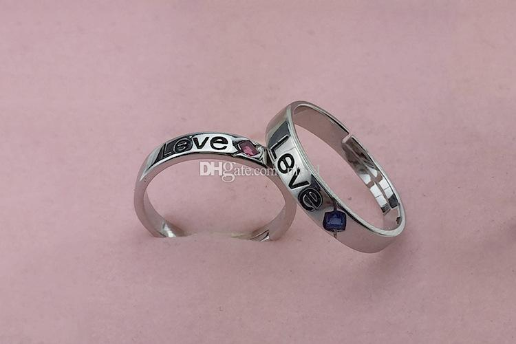 New arrival love hearted adjustable couple rings romantic lovers silver plated finger rings jewelry for womens gift