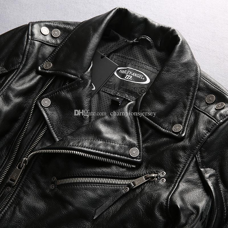 Good quality Harley angel motorcycle suits genuine leather jacket lapel neck double zipper Slim man coats DHL