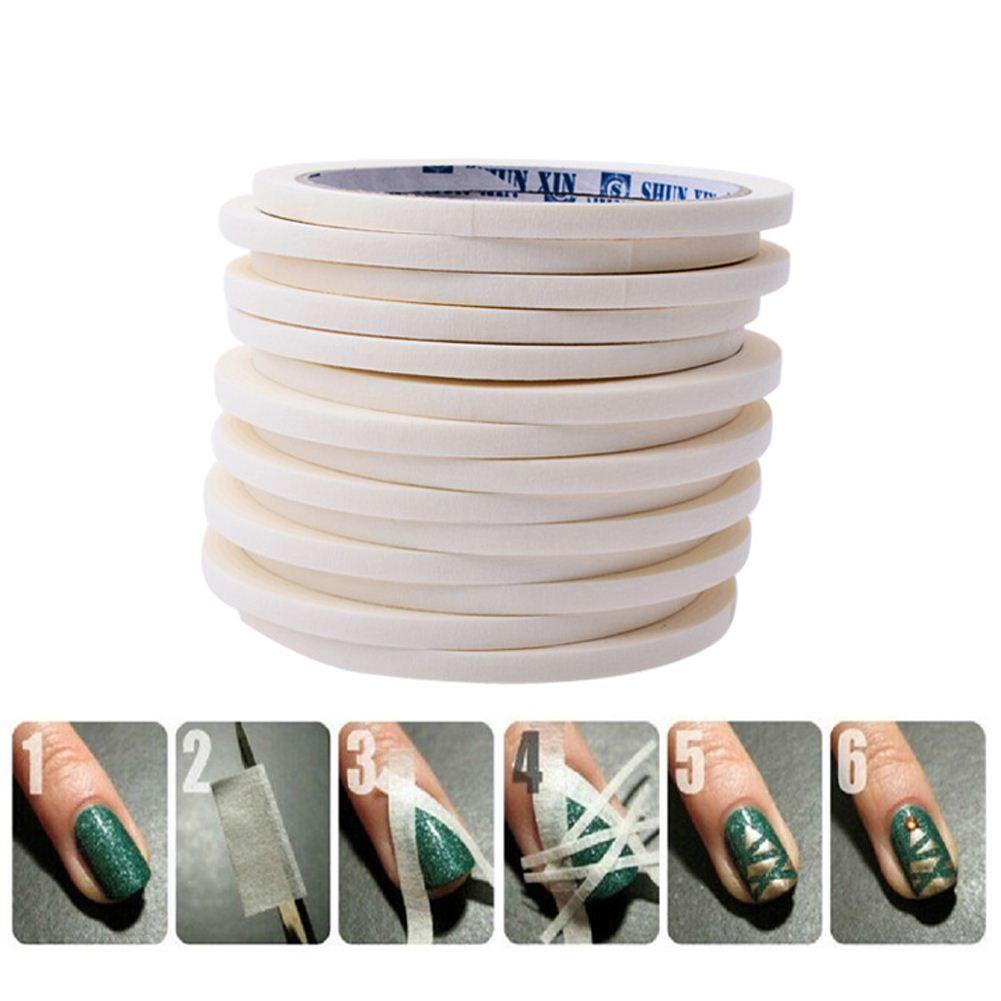 12 Pcs Nail Art Tips Fita Adesiva Rolls Envoltório Tiras DIY Manicure Decoração Etiqueta Estêncil UV Gel Acrílico Unha Polonês 0.5 cm