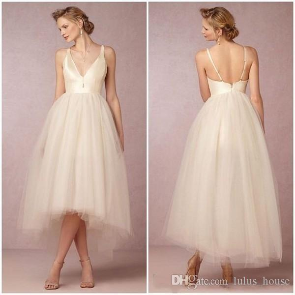 Cheap Wedding Dresses Lulu: Discount 2017 Country Hi Low Wedding Dress Light Champagne