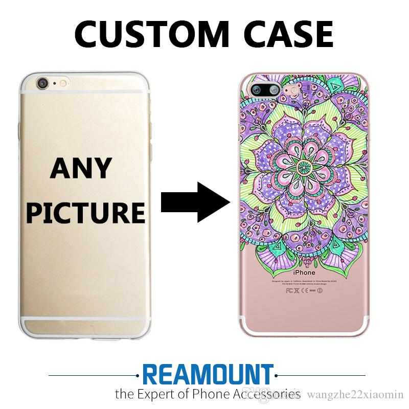 timeless design ee2cd 640fa 3D Relief Mandala DIY Custom Mobile Phone Slim Cover TPU Transparent case  for Iphone 7 DIY Customize Photo Pictures