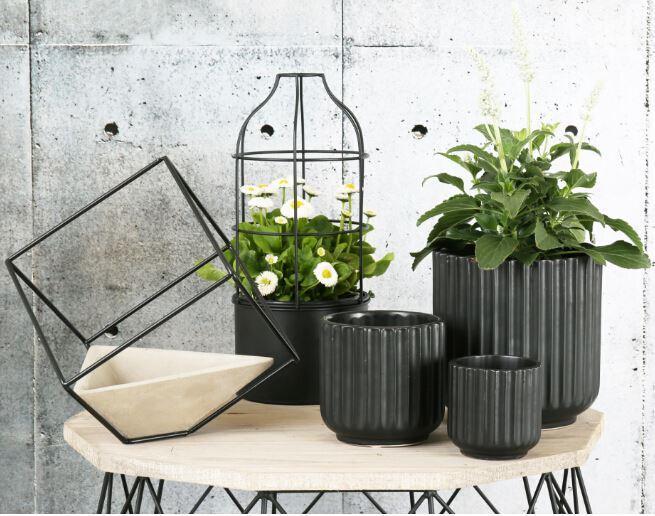 home decor flower pots ceramic vases black/white direct line