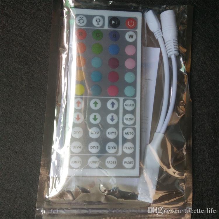 10 Pièce DC12V 6A Mini RGB contrôleur avec 44 touches IR Variateur Télécommande sans fil pour le contrôle LED Strip 5050 3528 34 modes