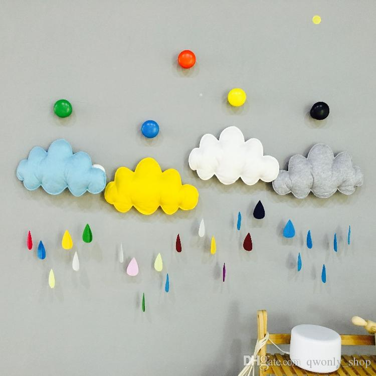 Cartoon Colorful Wall Stickers Fabric+Silk Wadding Cloud Raindrop Removable  Kids Baby Room Nursery Creative Wind Chimes U0026 Hanging Wall Decor Wall Decor  ...