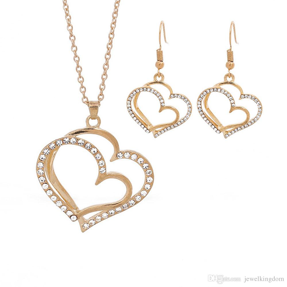 Simple Double Heart Crystal Necklace Earrings Set Women Romantic Gold  Plated Wedding Engagement Party Jewelry Sets Lover s Gift Heart Jewelry  Sets Crystal ... 55d20ac39cda