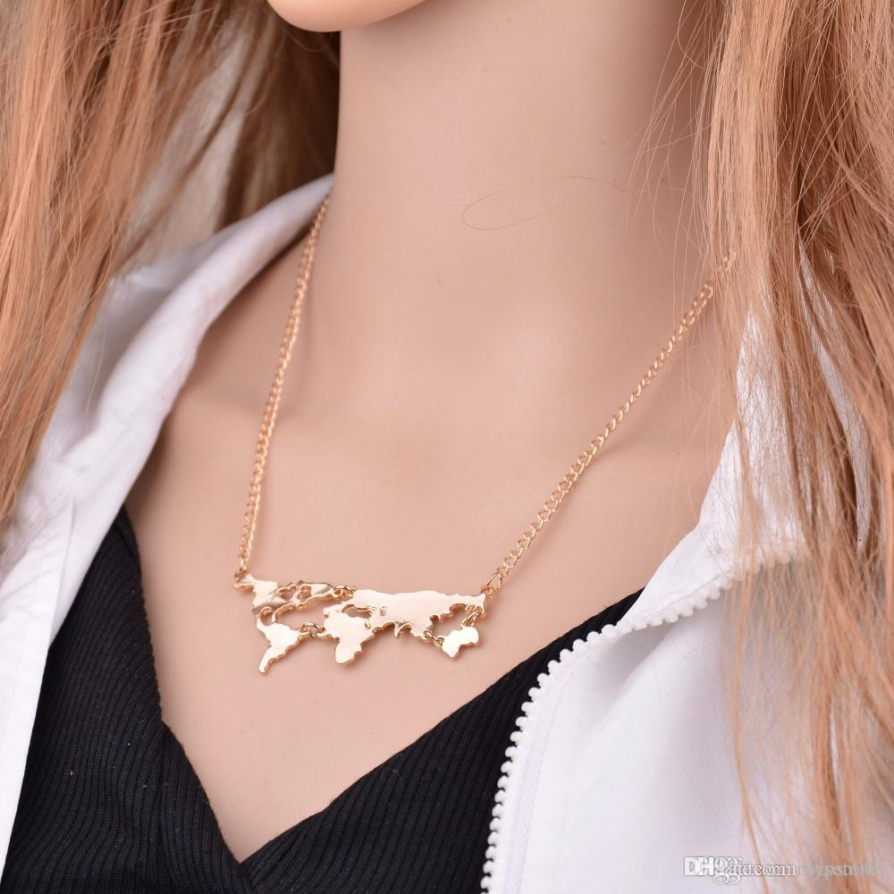 Wholesale world map pendant necklace for women men fine jewelry wholesale world map pendant necklace for women men fine jewelry gold silver gun black colors world continents clavicle chokers necklace charm gift heart gumiabroncs Image collections