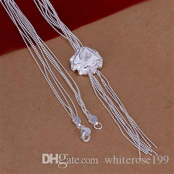 Venta al por mayor - Collar de envío libre N92 de la joyería de plata de la manera del regalo 925 de la Navidad del precio bajo al por menor
