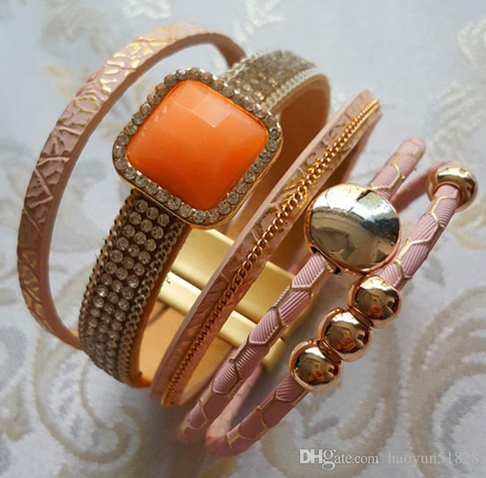 Nya pärla rhinestone magnetiska läderarmband Bangles Bohemian handgjorda multilayer wrap smycken kvinnor Present pulseira