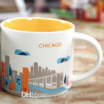14oz Capacity Ceramic Starbucks City Mug American Cities Best Coffee Mug Cup with Original Box Chicago City
