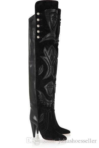 Suede And Leather Embellished Becky Over The Knee Boots Spike High Heel Button Black Thigh High Boots Winter Shoes Women Booties