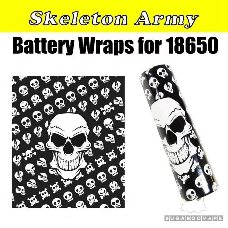 Bandera Nacional de EE. UU. Vaping Proverbios Skeleton Skull Army 18650 20700 Batería Etiqueta engomada de la piel del PVC Funda Vaper Envoltura Envoltura retráctil para Vape