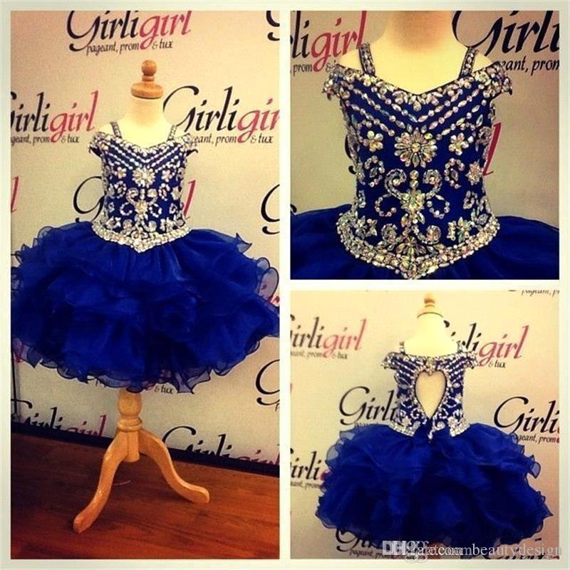 2018 Cute Royal Blue Organza Girls Pageant Dresses Sparkling Beads Rhinestones Ruffles Layer Kids Formal Wears Pageant Gowns Off Shoulders