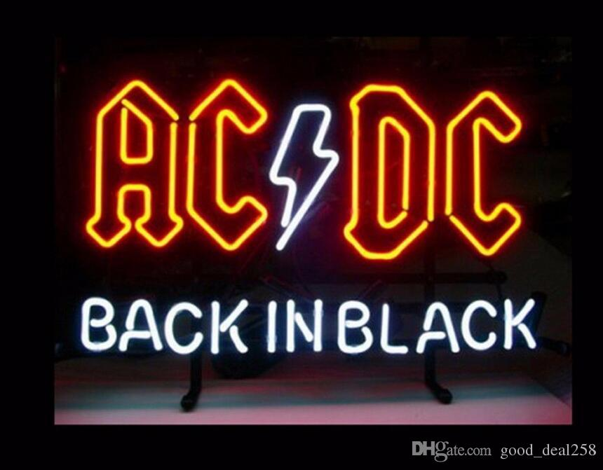 AC DC BACK IN BLACK Glass Neon Light Sign Display Beer Bar Pub Store