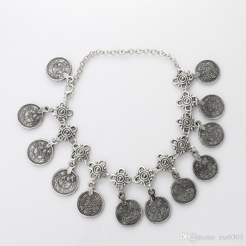 Серебряный цвет чешского металла кисточкой ножной браслет для женщин роскошный Шарм монета лодыжки браслет для женщин ювелирные изделия летний стиль