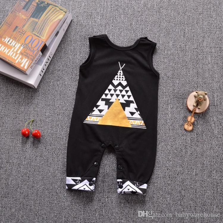 Nowe dziecięce pajacyki lato niemowlę odzież bawełniana czarny bez rękawów kreskówek fox kombinezon bodysuit noworodka chłopiec dziewczyna ubrania hurtownie