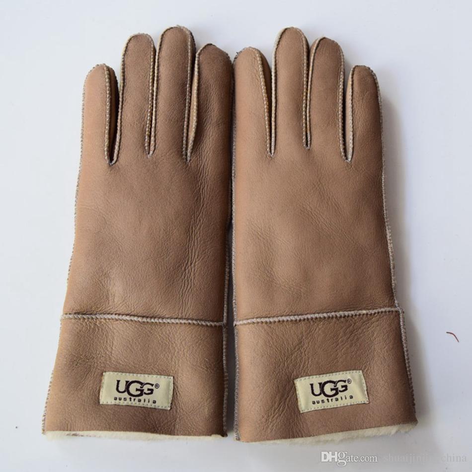Sheepskin Gloves Fur Leather Gloves Mittens Sheep Leather Gloves Solid Color Winter Outdoor Warm Glove LJJO3142
