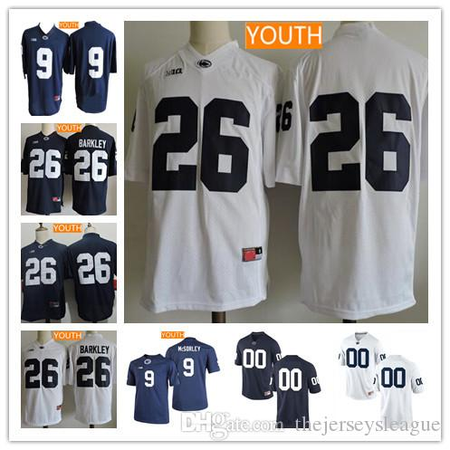 8ed1ab886 ... Jersey Youth Penn State Nittany Lions College Football 9 Trace McSorley  26 Saquon Barkley White Navy Blue Mens ...