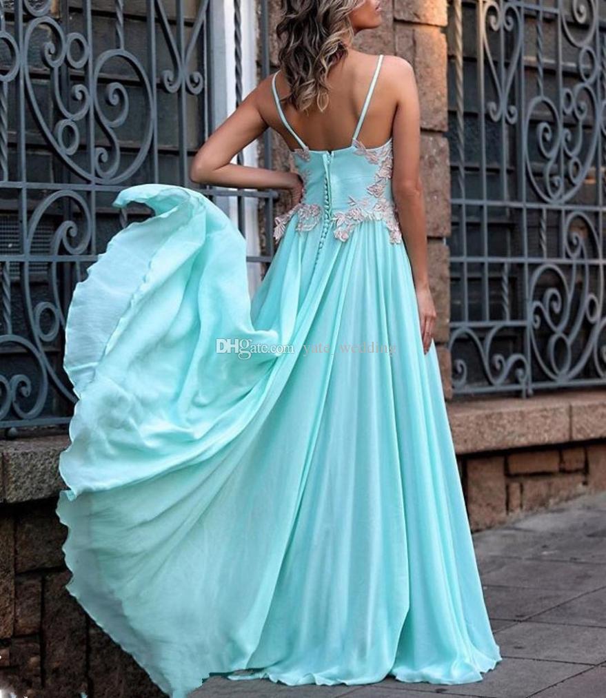 Light Blue Summer Long Prom Vestidos V Neck Spaghetti apliques de renda de cetim até o chão sem encosto Vestidos