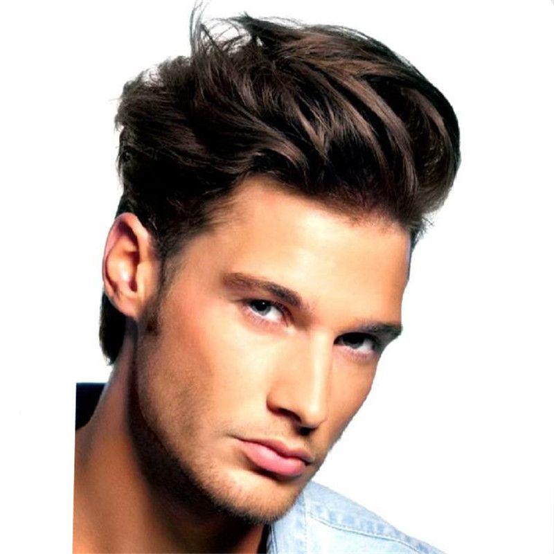 2019 Fashion 6inch Short Human Hair For Men 1b Silk Straight Indian
