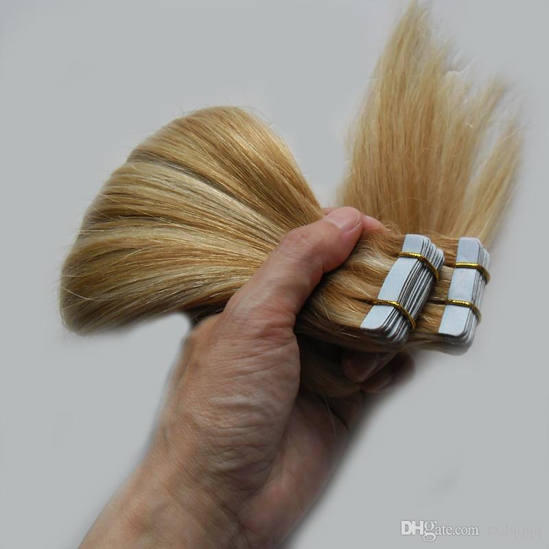 Doppie estensioni dei capelli estensioni dei capelli di trama naturale rettilineo doppio p27 / e del nastro di trama della pelle di colore del piano estensioni 100g