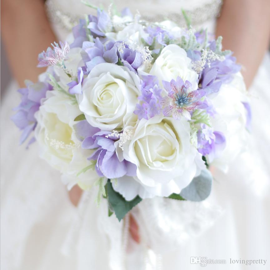 Purple And White Wedding Flower Bouquets: Jane Vini Crystal Wedding Flowers Bridal Bouquets Handmade