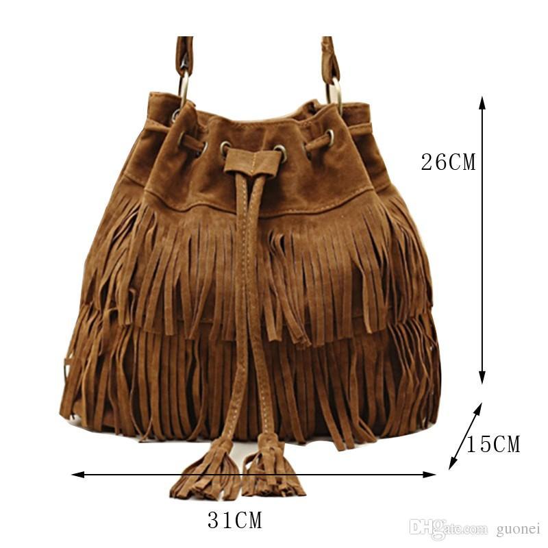New Fashion 2017 Suede Drawstring Bucket Bag Women Handbag Faux Fringe Tassel Shoulder Crossbody Messenger Bag Boho Style