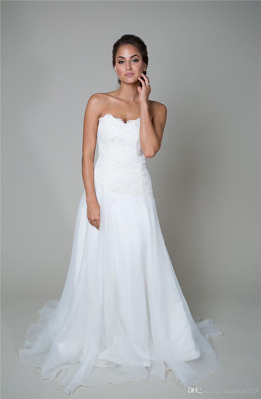 Wedding Dress Dropped Asymmetrical Waist Wedding Dress Low Back And a Silk Organza Applique Lace a-Line Bridal Dress