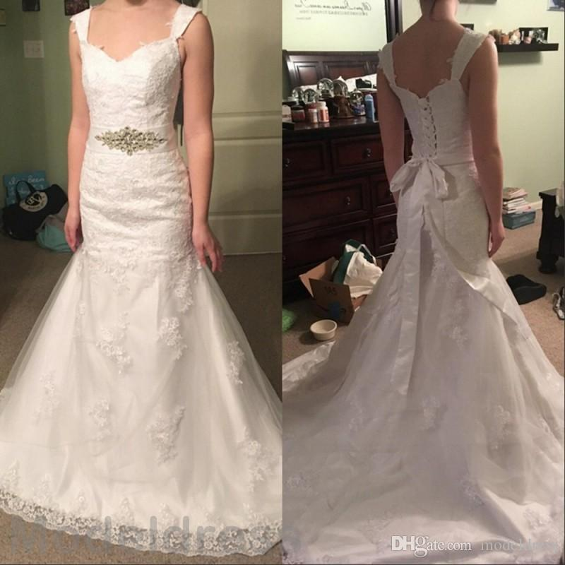 Mermaid Lace Wedding Dresses 2016 V-Neck Backless Appliqus Sashes Elgant Lace Up Bridal Gowns Cheap Custom Made