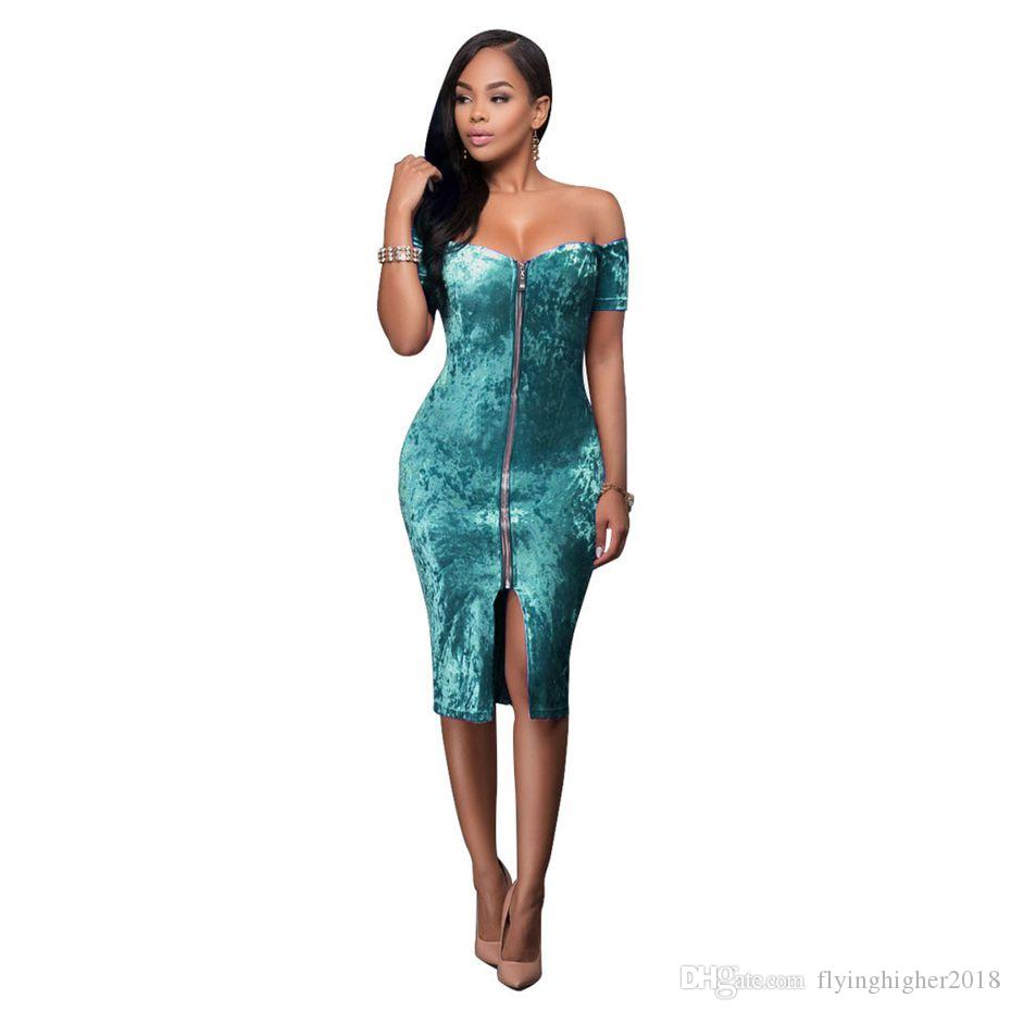 Sexy Off Shoulder Velvet Dress Vintage 2017 Spring Club Party ...