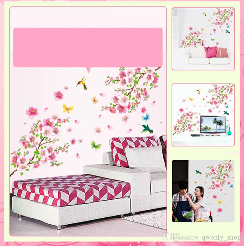 Large Elegant Flower Wall Stickers Graceful Peach Blossom Birds Wall Stickers Furnishings Romantic Living Room Decoration