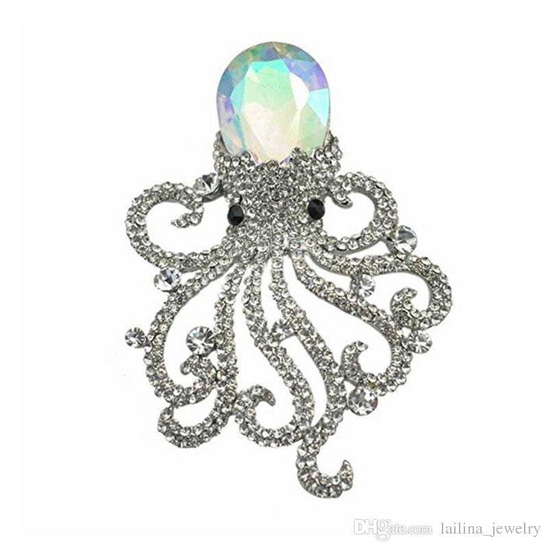 الأزياء والمجوهرات جميلة الأخطبوط حجر الراين كريستال الفن الحديث بروش دبوس واضح
