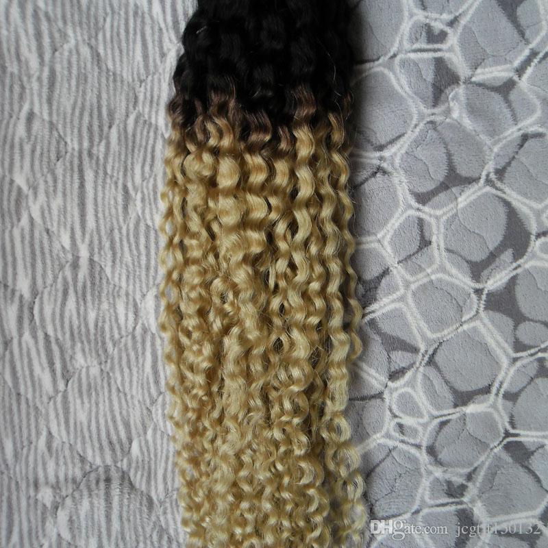 Ombre Weave Blonde T1B / 613 Capelli Vergini Malesi Kinky Ricci Tessuto Dei Capelli Umani 100g Malese Kinky Ricci Capelli Vergini 1 PZ
