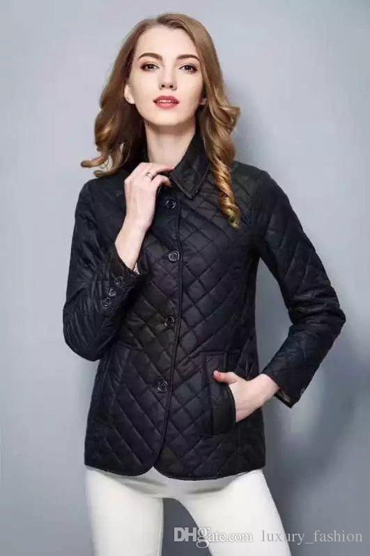 Clásico caliente! Las mujeres de moda de Inglaterra corto de algodón fina capa acolchada / alta calidad chaqueta de diseñador de la marca para el tamaño S-XXL # 19010 envío libre