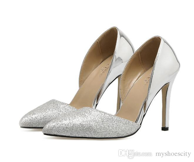 9c88c4c562f Sexy High Heels Prom Wedding Shoes Silver Gold Pointed Toe D Orsay Shoes  Size 35 To 40 Nude Shoes Womens Sandals From Myshoescity