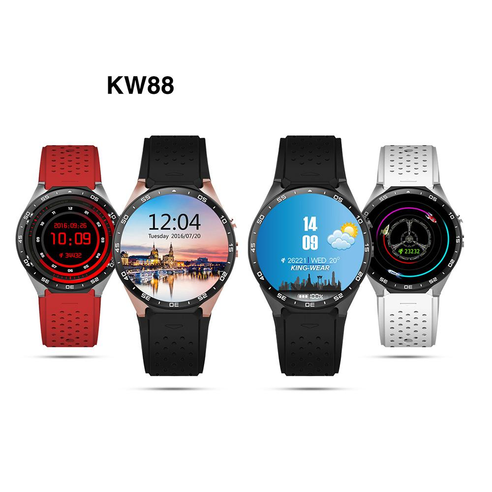 KW88 Smart watch 3G WIFI GPS for Android 5 1 MTK6580 CPU 2 0MP camera  smartwatch SIM Card Heart Rate Monitor
