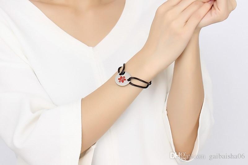 Freie gravur männer frau edelstahl und nylon seil medizinisch tag armband kinder einstellbar armreif