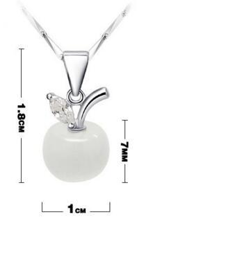 925 Silver Pendant Necklace Women Wedding Charms Chain for Girls Opal Cat Eye Diamond Crystal Apple Pendant Necklace New